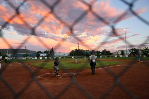 Sunset during Thursday night's Little League game between Carson Valley and Sparks Centennial. Photo by Ron Harpin.