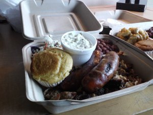 Combos come with a pair of sides, rice and beans and corn bread.