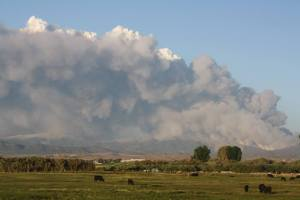 Photo courtesy of Kathy Jo Young Kidd The Bison Fire Sunday afternoon from near Minden Meat & Deli