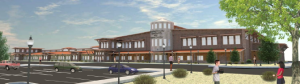 A rendering of the Douglas County Community and Senior Center, currently under construction across from Lampe Park.