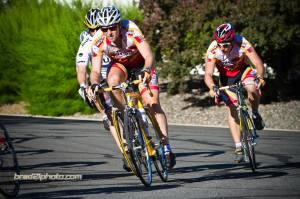 Photo by Brad Cockman/ www.bradcockman.com Alta Alpina cycling team members Mel Maalouf and Seth Jezek racing at the Reno Wheelmen twilight criterium, July 16.
