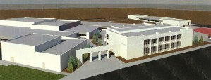The new classroom building at Douglas High School will sit where the open grass area near the entrance to the building is currently located. To the left in this artist's rendering is the already existing band and drama wing.