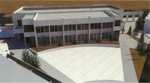 Another artist's rendering of the planned classroom building at Douglas High, this one from the viewpoint of where the main building currently sits.