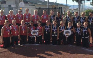 Photo special to CVT The winning 12U and 14U Carson Valley Hot Shots softball teams.