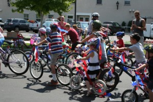 Photo by Jackie Wall The start of the kids bike parade at Minden Town Park.