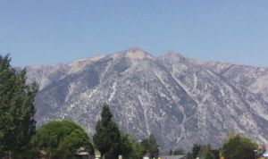 Jobs Peak from the Ranchos. From this angle, it's actually the one on the right.