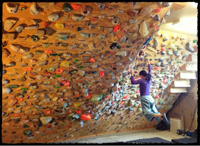Photo courtesy of Noah Kaufman Valley ER doctor Noah Kaufman built this climbing wall in his garage.