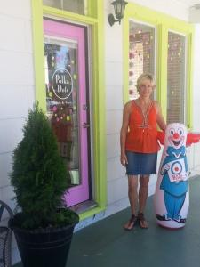 Jody Branson in front of Polka Dots Greets & Sweets in downtown Gardnerville.