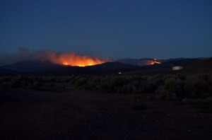 Photo by Kristin Ridley A view of the Bison Fire from the end of Mary Jo Drive in the Ranchos Friday night.