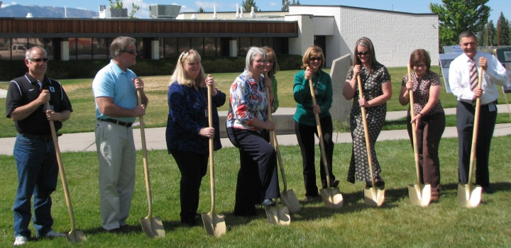 School board members, Douglas County School District Staff and Douglas High administrators break ground on the site of the Douglas High STEM building Thursday afternoon.