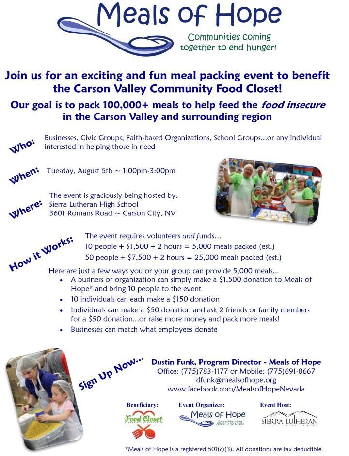 Douglas County Meal Packing Event August 5 2014