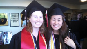 Photo courtesy of the Brockhage family Elaine Brockhage and Christiana Lee at the Union High School baccalaureate over the weekend.