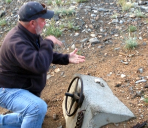 Charlie Condron explains how the valve that release water from Tamarack Lake into the Carson River works.