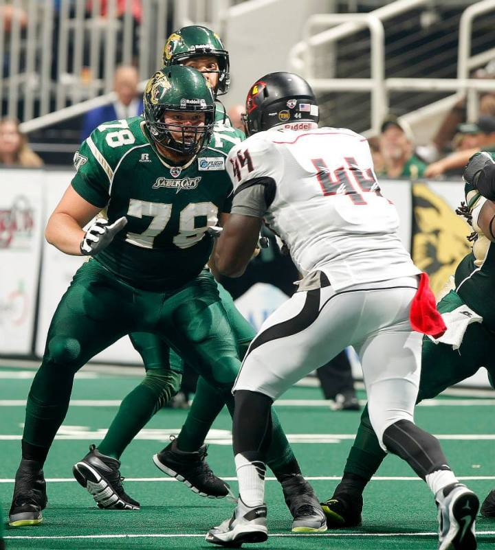 Photo courtesy of the San Jose Sabercats Jeff Nady (79) blocks during an Arena Football League game earlier this season.