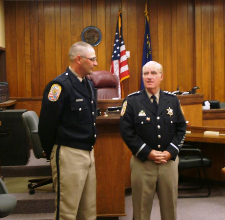 Photo courtesy of Douglas County Sheriff's Office New DCSO Deputy Daniel Cannoy and Douglas County Sheriff Ron Pierini.