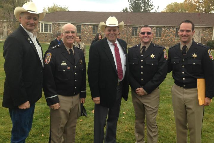 L-R: Senator James Settelmeyer,  Sheriff Ron Pierini, Assemblyman Jim Wheeler and Deputies Mark Brown and Clayton Ridley at the recent Law Enforcement Academy graduation at the State of Nevada P.O.S.T. Academy