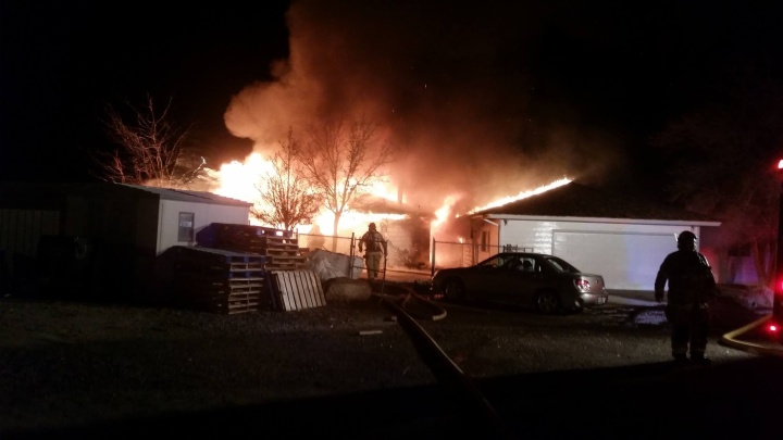 Photo courtesy of Will Lynch The fire on Helman Drive Wednesday night.