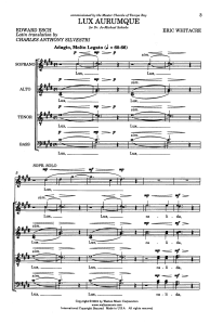 """The opening sequence of """"Lux Aurumque,"""" composed by Douglas High graduate Eric Whitacre"""