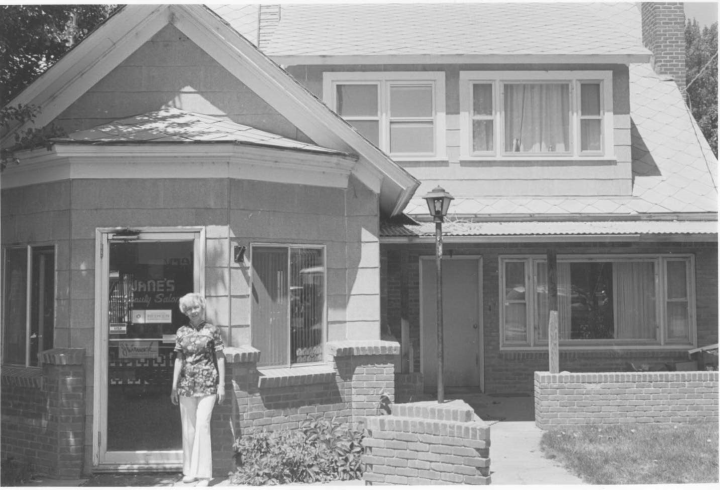 Photo courtesy of the Douglas County Historical Society Jane Rosenbrock in front of her salon
