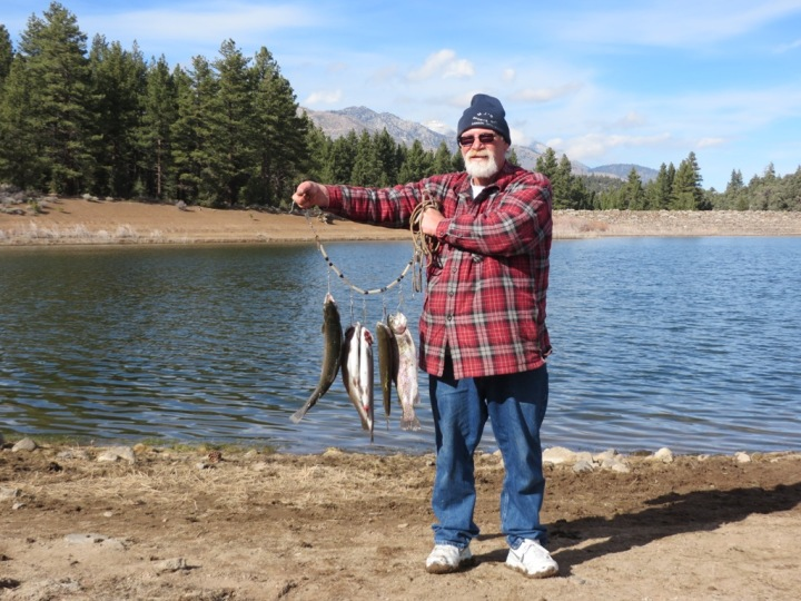 Dave Giovacchini of Carson City with his limit of ICR trout.   Photo by Elaine Quilici