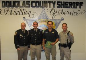 L-R- Sheriff Ron Pierini, Deputy Christopher Carson, Investigator Jeff Schemenauer and Undersheriff Paul Howell