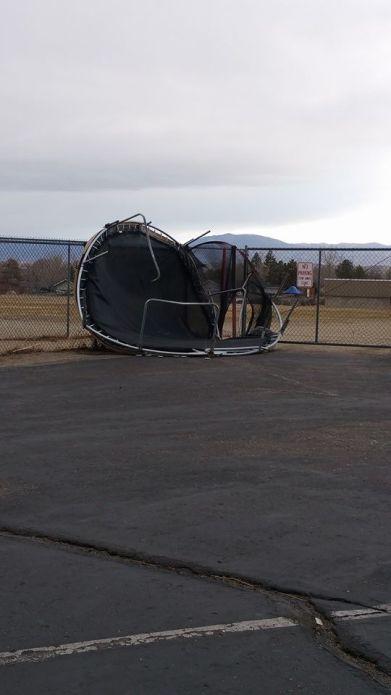 Photo by Adrienne Bilotta - A trampoline in the CC Meneley parking lot