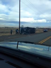Photo by Alana Belanger - Overturned RC Willey Truck