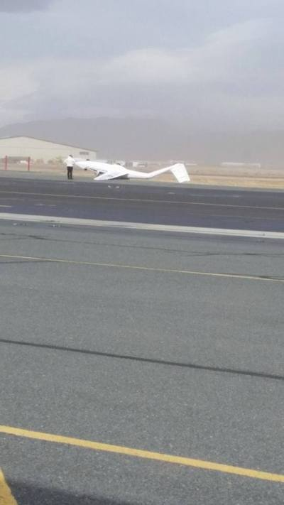 Photo by John Hefner Sr., A glider came loose from its rigging at Minden Tahoe Airport