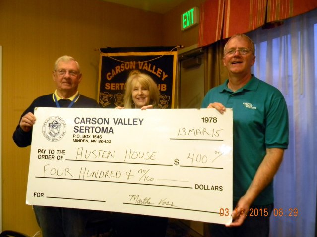 Chuck Vickrey Sponsorship Chair, Kathleen Miller, Executive Director, Austin's House, and Chuck Voss, Carson Valley Sertoma President-Elect.