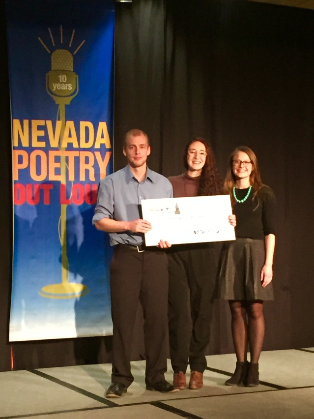 '07 Nevada POL winner Jake Reid, Douglas County winner Dominique Groffman, Eleanor Billington with the National Endowment for the Arts.