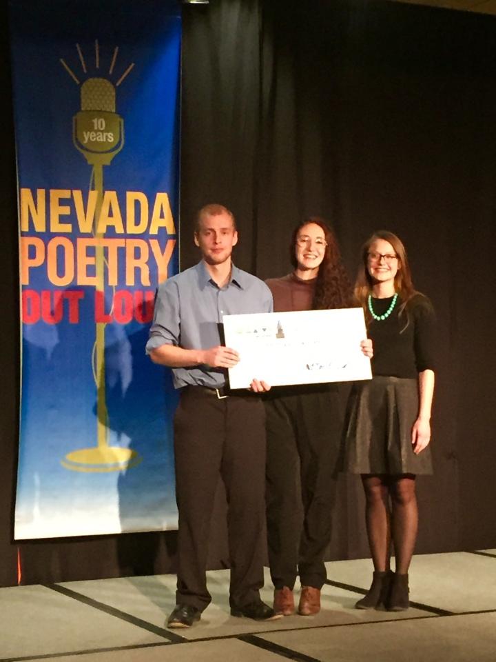 '07 Nevada POL winner Jake Reid, Douglas County winner Dominique Groffman, Eleanor Billington with the National Endowment for the Arts.