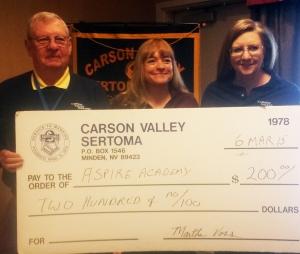 Photo provided to the Carson Valley Times Chuck Vickery, Carson Valley Sertoma Sponsorship Director; Alicia Rhodes, ASPIRE Academy representative; Martha Voss, Carson Valley Sertoma President