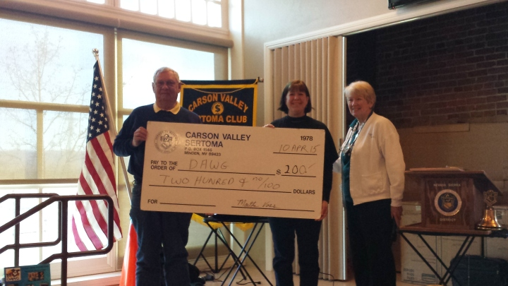 Members of the Carson Valley Sertoma Club presented DAWG with a $200 contribution recently. Photo provided by Carson Valley Sertoma