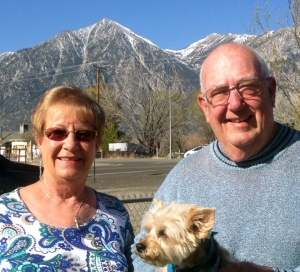 Sybil and Jerry Dunagan with their dog, Duffy, in Gardnerville Friday.
