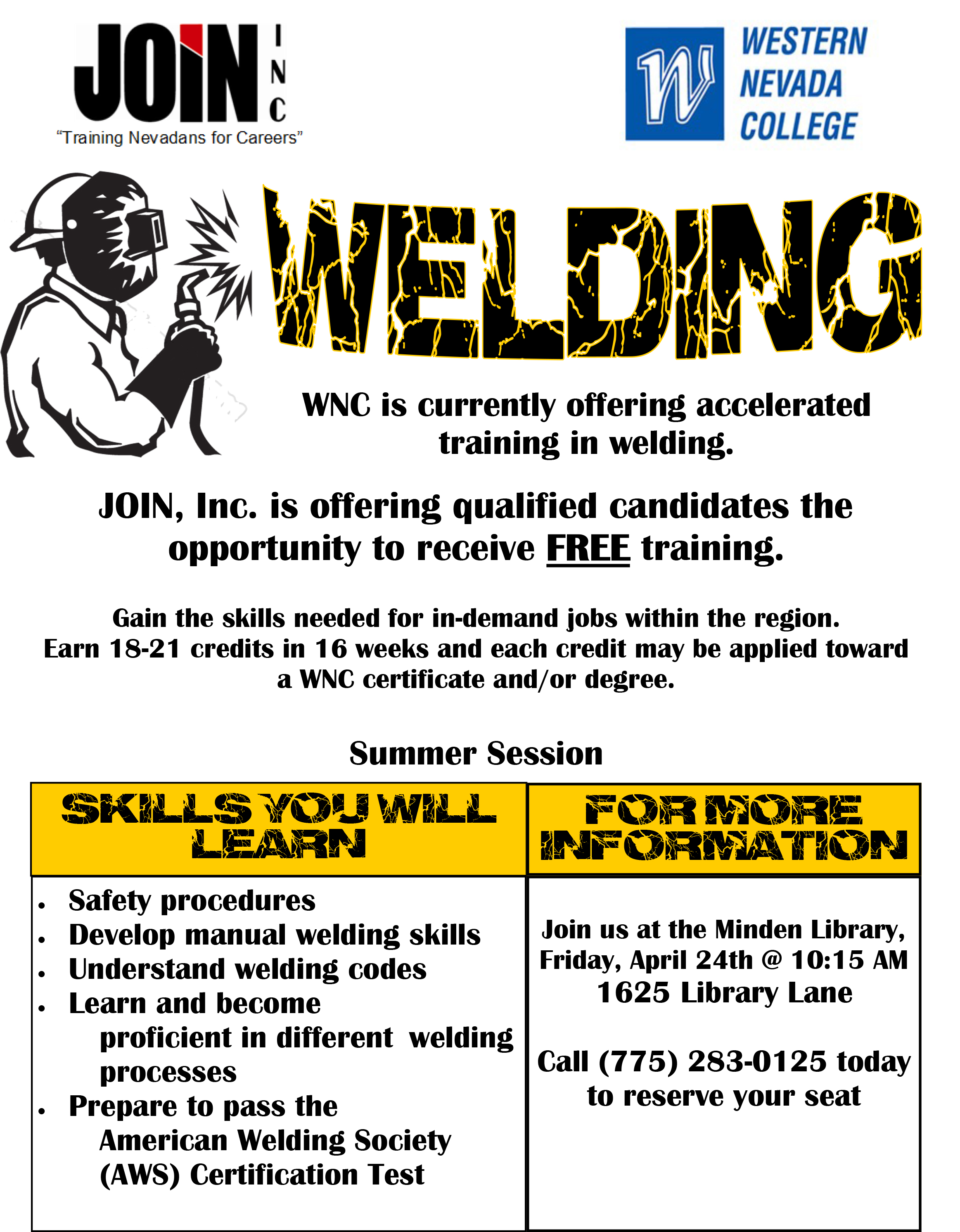 Accelerated Welding Training Offered Through Western Nevada College