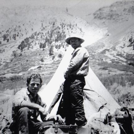 Photo courtesy of the Lekumberry Family Collection Sheepherders Jean Lekumberry and Aurelio Casaus (standing), early 1950's, Sierra Nevada Mountains