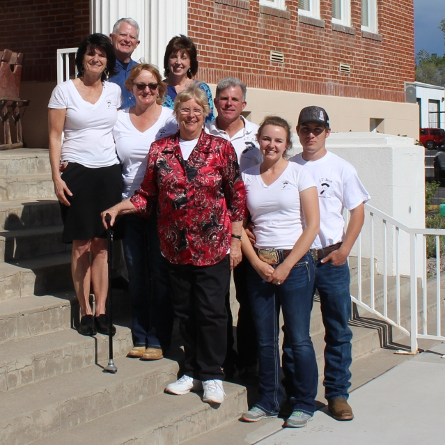 Front row, from left: Marie-Louise Lekumberry, Lisa Giovacchini-Lekumberry, Shirley Lekumberry-Fraser, Anna Lekumberry. Back row; Unidentified, Cindy Rogers, J.B. Lekumberry and Justin Degenhart.