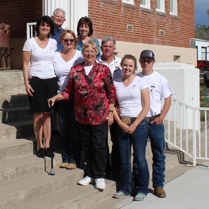 Front row, from left: Marie-Louise Lekumberry, Lisa Giovacchini-Lekumberry, Shirley Lekumberry-Fraser, Anna Lekumberry. Back row; Unidentified, Cindy Rogers, J.B. Lekumberry and Justin Degenhart.