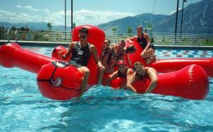 Clifford the Big Red Dog (and later the Yellow Submarine as well) was a fixture at Carson Valley Swim Center through the 1990s. Photo courtesy of Shannon Harris.