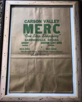 A grocery bag from the Carson Valley Merc, which was located in downtown Gardnerville where Cheshire Antiques is now. Photo: Jennie Forzani.