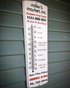 A thermometer from Miller's Market, which was located in downtown Gardnerville, where The Record-Courier building is now.