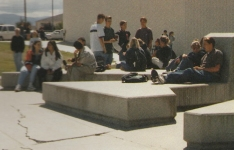 """The """"tombstones"""" in front of Douglas High School, 1998."""