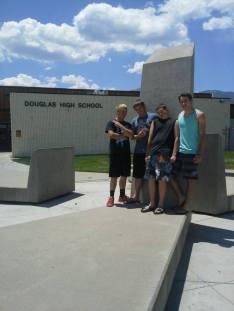 Tombstones in front of Douglas High School, photo by Valerie Wilkinson.